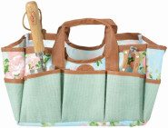 Esschert Design Jute Gartengerätetasche mit Rosendruck, 29 x 24 x 25 cm, mit zahlreichen Taschen, faltbar, mit Tragegurt