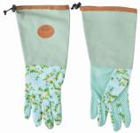 Esschert Design Jute Handschuhe mit Rosendruck, 18 x 1,2 x 37 cm, lang, mit Unterarmschutz, mit Noppen, Grundfarbe grün