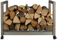Esschert Design Kaminholzwagen aus Kiefernholz, 84 x 30 x 55,5 cm, mobil durch Kunststoffräder, Holzlager