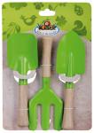 Esschert Design Kinderwerkzeug 3er-Set, Gartenwerkzeug in grün für Kinder mit Holzstiel