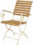 Esschert Design Klappstuhl aus Holz/Metall, 57 x 64 x 90 cm, in edler Optik, zusammenklappbar, in Farbe creme