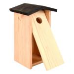 Esschert Design Kohlmeisenkasten aus Kiefernholz, 17 x 13,7 x 28,3 cm, Nistkasten, Futterhaus, Futterstation mit Klapptür