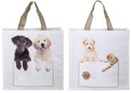 Esschert Design Kuckuck! Tasche Hund & Katze, aus Polyester, Einkaufstasche 2 versch. Designs, 40 x 14 x 40 cm, Design sortiert, in weiß