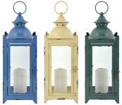 Esschert Design Laterne in 3 Farben M aus Eisen und Glas ,14,5 x 15,4 x 38,6 cm