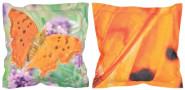 Esschert Design Outdoor Kissen mit Schmetterling-Lavendel-Motiv auf der Vorderseite, Schmetterlingflügelmotiv auf der Rückseite, 42x42x10 cm