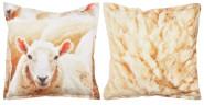 Esschert Design Outdoor Kissen mit Schafmotiv auf der Vorderseite und Fellmotiv auf der Rückseite, 59x59x13 cm