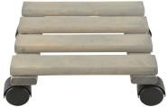 2 Stück Esschert Design Pflanzentrolley, 24 x 24 x 8,1 cm, aus Holz, quadratisch, Größe S, mit 4 Kunststoffrollen