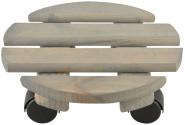 2 Stück Esschert Design Pflanzentrolley, Ø 24 x 8,1 cm, aus Holz, rund, Größe S, mit 4 Kunststoffrollen