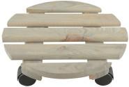 Esschert Design Pflanzentrolley, Ø 29 x 8,1 cm, aus Holz, rund, Größe L, mit 4 Kunststoffrollen