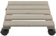 Esschert Design Pflanzentrolley, 30 x 30 x 8 cm, aus Holz, quadratisch, Größe L, mit 4 Kunststoffrollen