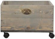 2 Stück Esschert Design Pflanzkasten auf Rollen, 39 x 39 x 25 cm, aus Holz, Größe S, mit 4 Kunststoffrollen, Holzkiste, Holzbox, Aufbewahrungsbox