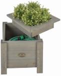 Esschert Design Pflanzkasten Schlauchaufbewahrung, 38 x 38 x 34 cm, auf Beinen, Standbeine, Holzbox, Pflanzbox, Gartenschlauchbox
