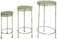 Esschert Design Pflanztisch, Gartentisch 3er-Set im Vintage Stil, 3 verschiedene Größen
