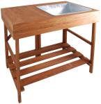 Esschert Design Pflanztisch, Gartentisch mit Wanne aus Hartholz, ca. 79 cm x 58 cm x 89 cm