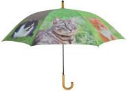 """Esschert Design Regenschirm Katzen, aus den Materialien """"Polyester, Metall und Holz"""", 120,0 x 120,0 x 95,0 cm"""