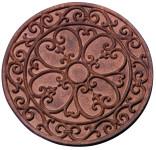 Esschert Design Gehwegplatte aus Gusseisen, rund, mit Klassik-Motiv, Ø 30 x 1,2 cm