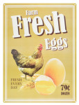 """Esschert Design Schild """"Fresh Eggs"""", 30 x 0,1 x 40 cm, frische Eier, Metallschild, Dekorationsschild"""