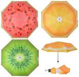 Esschert Design Schirm mit Kunststoffgriff, Ø 98,2 x 56 cm, Regenschirm mit Motiv Früchte, Kiwi/Orange/Melone, Design sortiert, mit Metallstiel