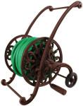 Esschert Design Schlauchwagen, Wagen für Gartenschlauch, Schlauchtrommel, inkl. 2 Rollen, aus Gusseisen, Farbe: braun