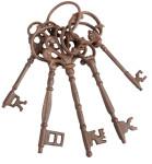 Esschert Design Schlüsselbund, Dekoschlüssel, Dekoartikel, mit 5 Schlüsseln, aus stabilem Gusseisen, Farbe: braun, Schlüssel bis 20,5 cm Länge