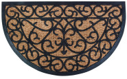 Esschert Design Fußmatte aus Gummi/Kokos-Einlage, halbrund, 75 x 45 cm in schwarz
