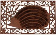 Esschert Design Schmutzfangmatte, Fußmatte Motiv Igel aus Gusseisen mit Kokoseinlage, ca. 73 cm x 46 cm