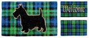 Esschert Design Schmutzfangmatte, Fußmatte Motiv Karo blau/grün/schwarz aus Kokos, 1 Stück, sortiert, ca. 75 cm x 45 cm