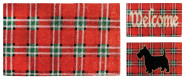 Esschert Design Schmutzfangmatte, Fußmatte Motiv Karo rot/grün/weiß aus Kokos, 1 Stück, sortiert, ca. 75 cm x 45 cm