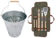 Esschert Design Set: BBQ Eimer, Grilleimer ca. 35 cm x 31 cm x 34 cm mit 4-teiligem Grillbesteck inklusive!