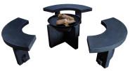 Esschert Design Set: Feuerschale mit Granitfuß und 3 feuerfesten Sitzelementen