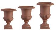 Esschert Design Set: Französische Vasen, Blumentöpfe, Pflanztöpfe, auf Sockel, 25 cm, 35 cm, 45 cm