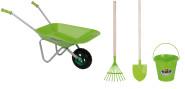 Esschert Design Set: Gartengeräte für Kinder, Kinderschubkarre, Kinderrechen, Kinderspaten und Kindereimer im Set in grün