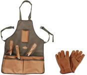 Esschert Design Set: Gartengeräteschürze mit Taschen, Maße 48 x 58 cm, inklusive Lederhandschuhe