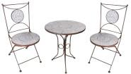 Esschert Design Set: Gartentisch mit blau-weißer Keramik Oberfläche, ca. 60 cm x 60 cm x 70 cm, 2 Gartenstühle mit Keramik Sitzfläche und Rückteil