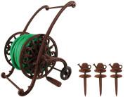 Esschert Design Set Schlauchwagen mit 2 Rollen und Standfuß inkl. 3 Schlauchführungen Motiv Gießkanne, Erdspieß aus Gusseisen in antikbraun