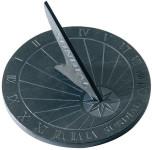 Esschert Design Sonnenuhr, aus Schiefer, Sonnenuhr Garten, Gartenuhr, rund, Durchmesser ca. 25 cm
