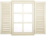 Esschert Design Spiegel mit Fensterläden aus Holz, Holzfenster in weiß, lackiert, 38,8 x 4 x 59 cm, Garderobenspiegel