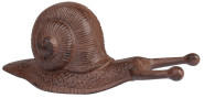 Esschert Design Stiefelknecht Motiv Schnecke aus Gusseisen in rostbraun, ca. 32 cm x 13 cm x 13 cm