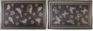 Esschert Design Teppich für draußen in taupe/grau, Motiv Vogel oder Schmetterling, sortiert, 1 Stück, ca. 119 cm x 180 cm