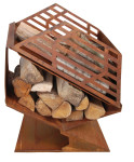 Esschert Design Terrassenofen mit Brennholzfach, ca. 62 cm x 34 cm x 66 cm