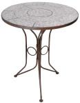 Esschert Design Tisch, Gartentisch, Tischplatte mit Keramik Oberfläche, blau-weiß, Ø 60 cm