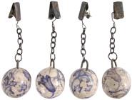 4 Stück Esschert Design Tischtuchgewicht, Tischdeckenhalter aus Keramik in blau-weiß, Ø ca. 3,2 cm