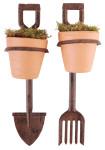 Esschert Design Topfhalter, Blumentopfhalter, Harke/Spaten, sortiert 1 Stück, 6,5 x 9,4 x 28 cm