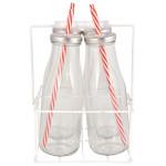 Esschert Design Trinkflaschen 4er Set mit Träger L aus Glas, Metall, Weißblech, PP und Silikon, 17,0 x 15,6 x 24,0 cm