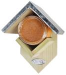 Esschert Design Vogelhaus, Vogelfutterhaus mit Dach für ein Erdnussbutter-Glas, ca. 15 cm x 13 cm x 19 cm