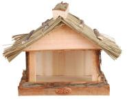 2 Stück Esschert Design Vogelhaus, Vogelfutterhaus mit Strohdach zur Befestigung an der Wand, ca. 28 cm x 18 cm x 23 cm