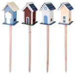 Esschert Design Vogelhaus, Vogelfutterhaus Villa mit Fuß, stehend, 1 Stück, sortiert, ca. 18 cm x 17 cm x 117 cm