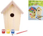 Esschert Design Vogelhaus, Vogelfutterhaus zum bemalen, ideal für Kinder, ca. 15 cm x 15 cm x 23 cm