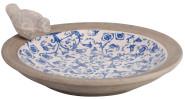 Esschert Design Vogeltränke aus Keramik, mit Deko-Vogel,, Ø ca. 34 cm, in blau-weiß