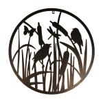Esschert Design Wanddekoration rund Vögel aus Stahl, 60,3 x 60,3 x 1,5 cm, Wandelement, Wandobjekt, mit Montagelochungen